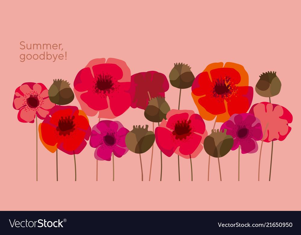 Decorative wild meadow boho style poppie flowers