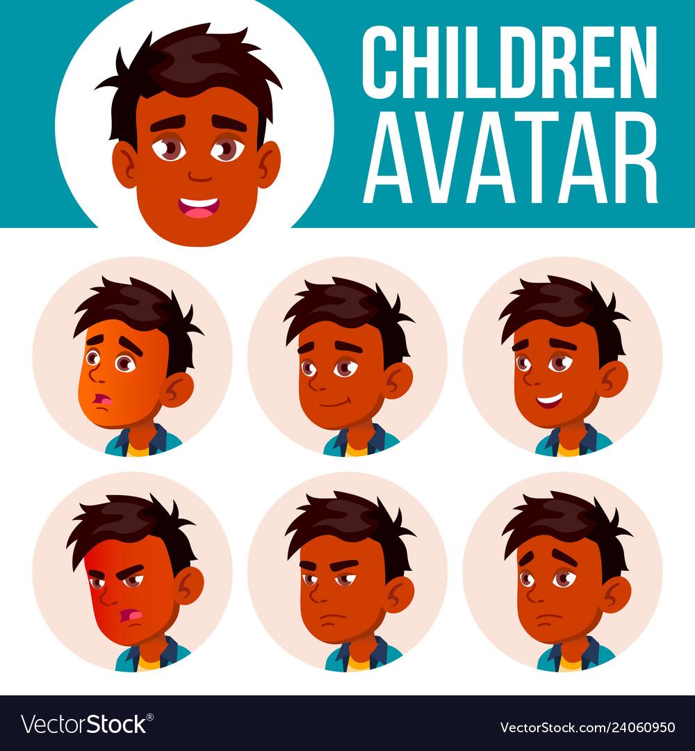 Indian boy avatar set kid primary school