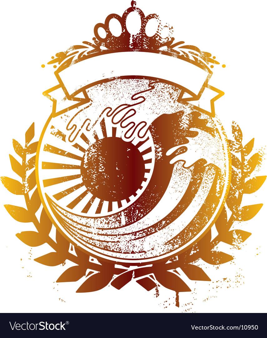 Japan king wave emblem vector image