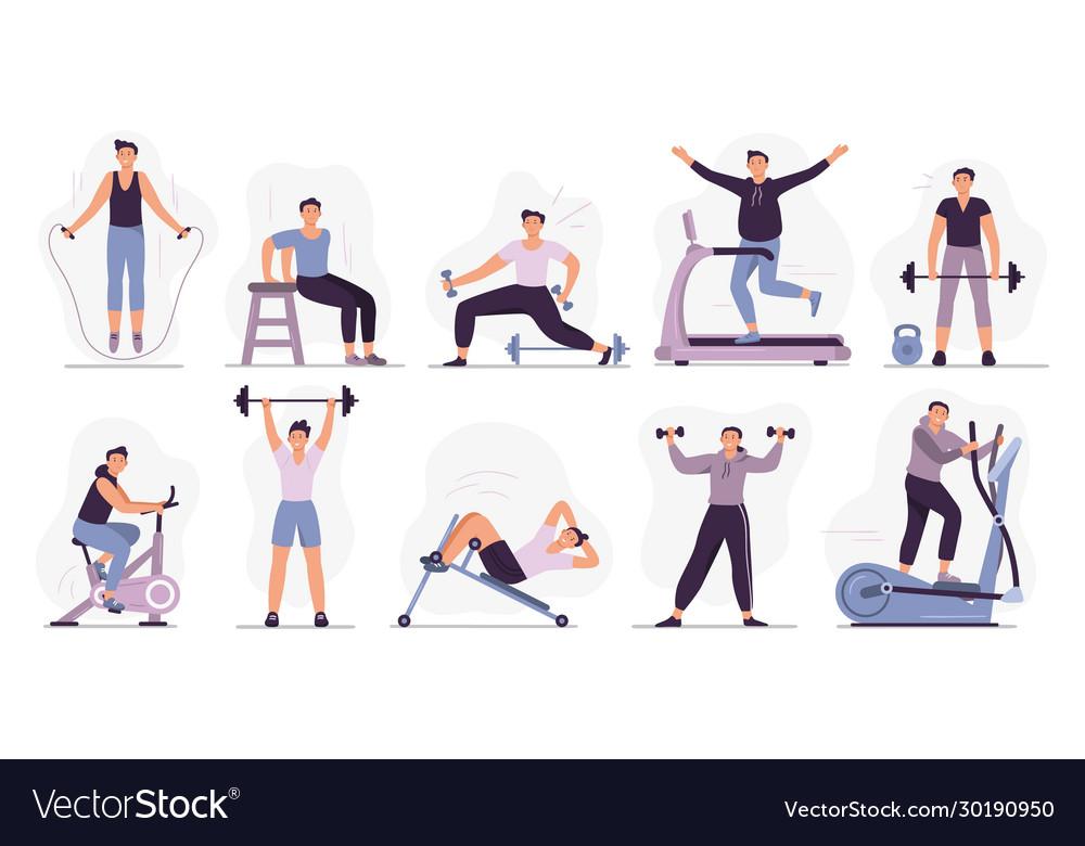 Man at sport gym set