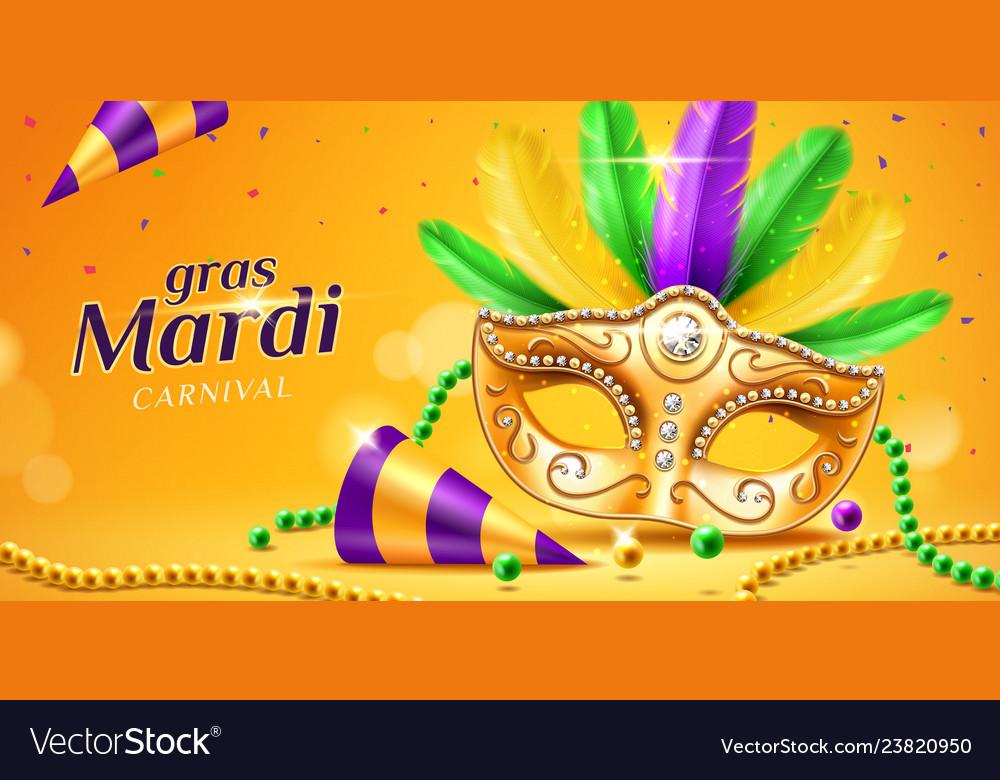 Mardi gras parade banner with masquerade mask