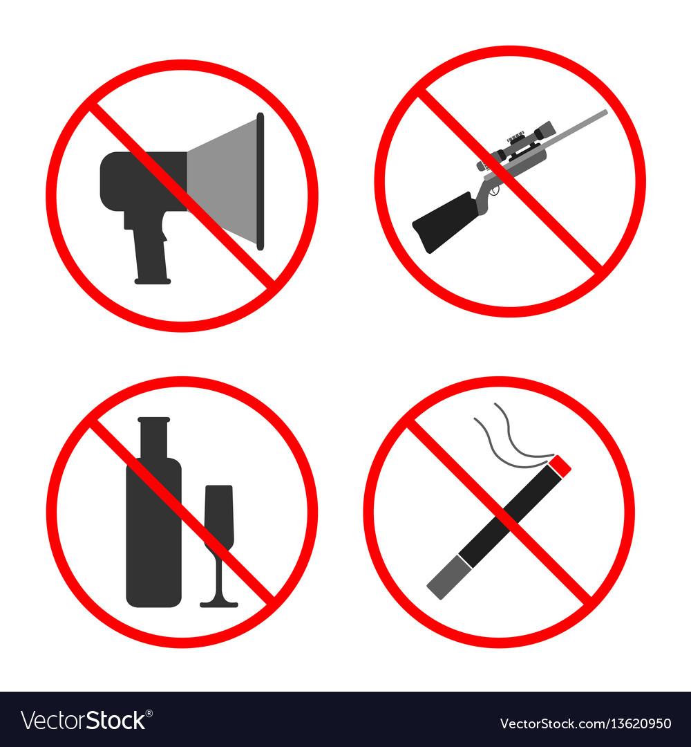 No noise gun alcohol smoke sign and symbol vector image