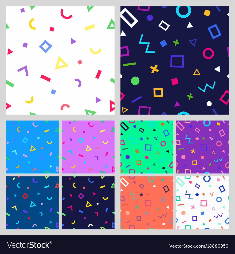 Set of geometric seamless patternt vector image