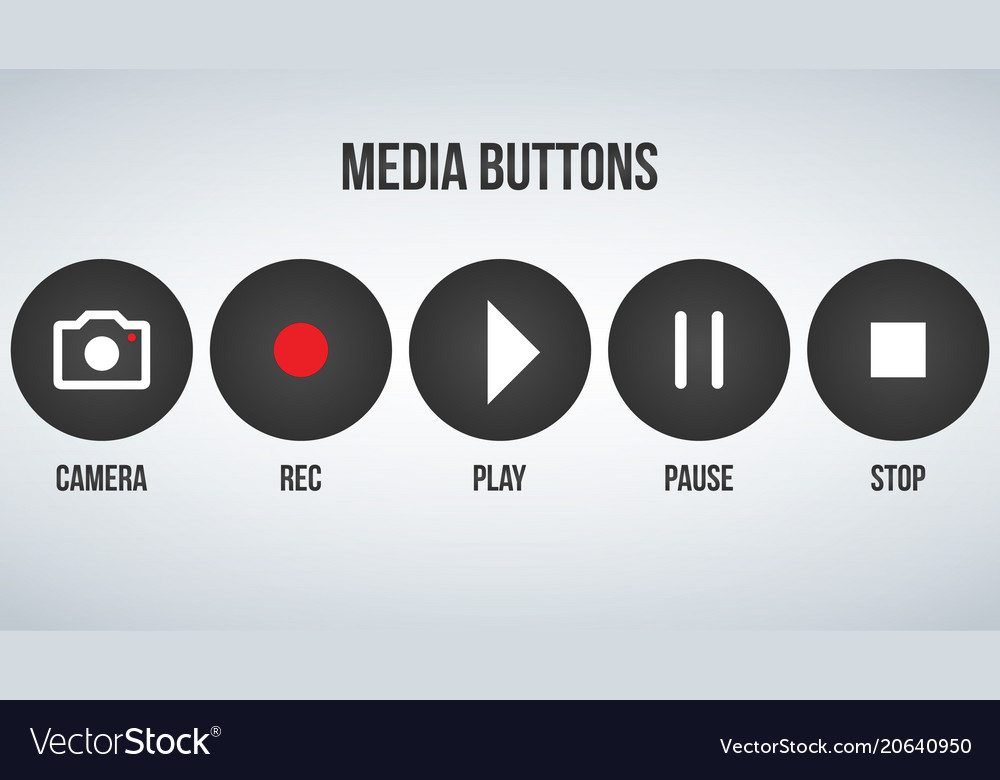Set of round black camera media buttons isolated