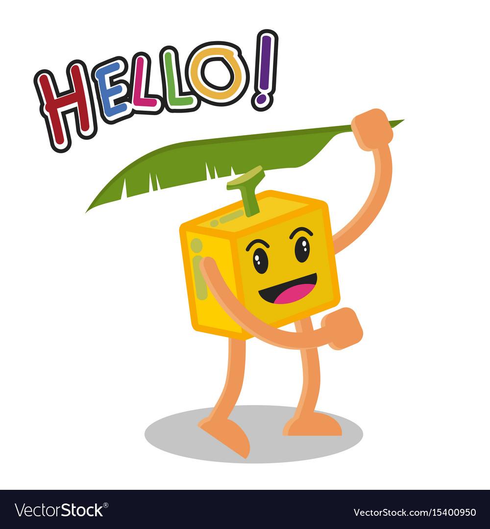 Smiling banana fruit cartoon mascot character vector image