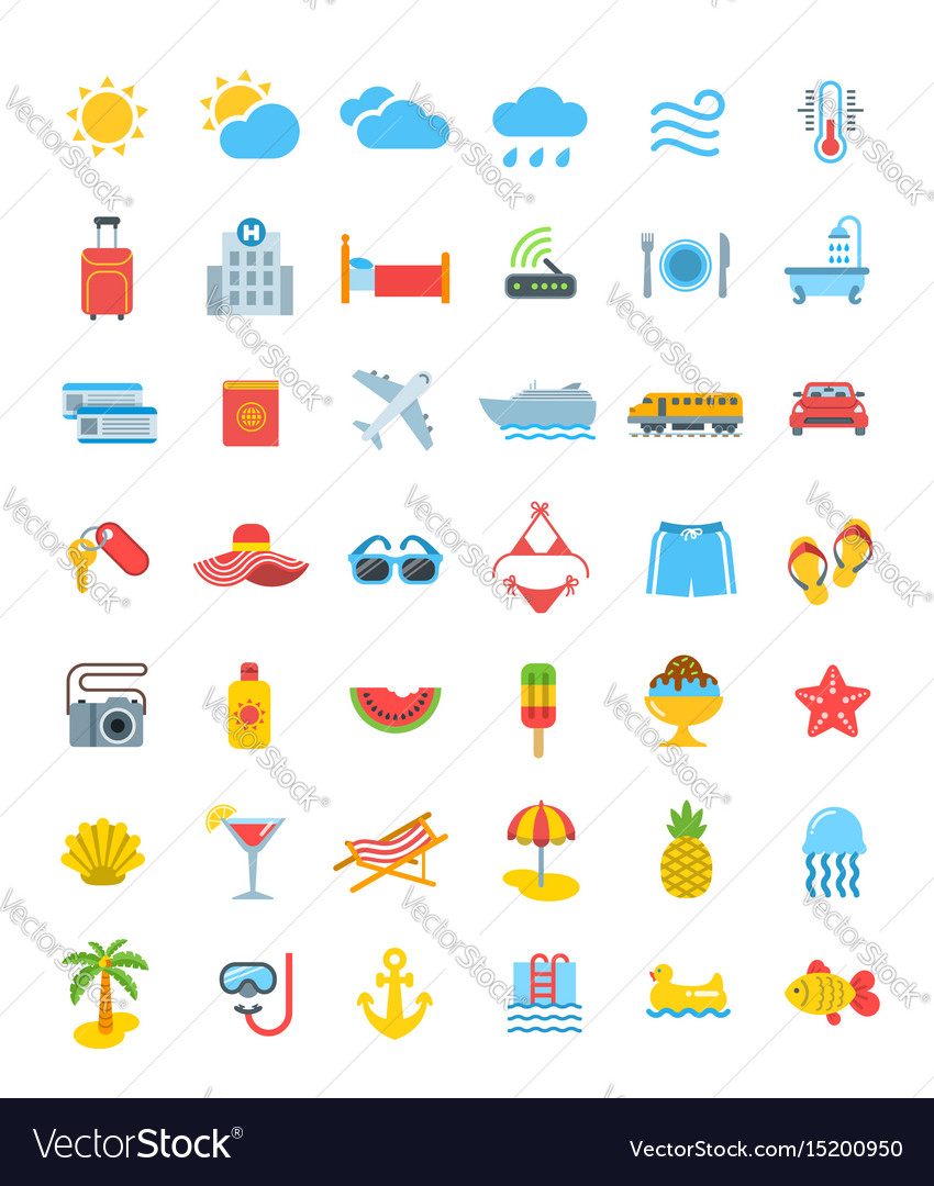 Summer vacation travel icons