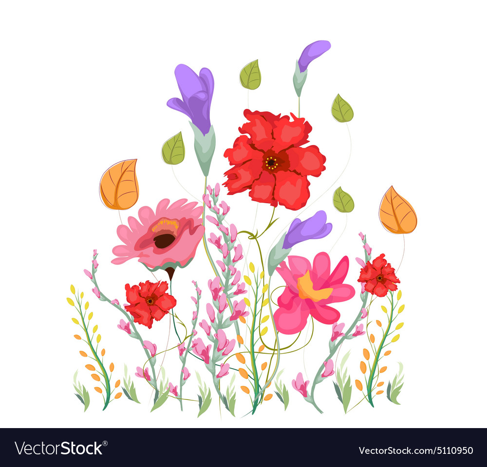 Sweet Pea Flowers Watercolor Royalty Free Vector Image
