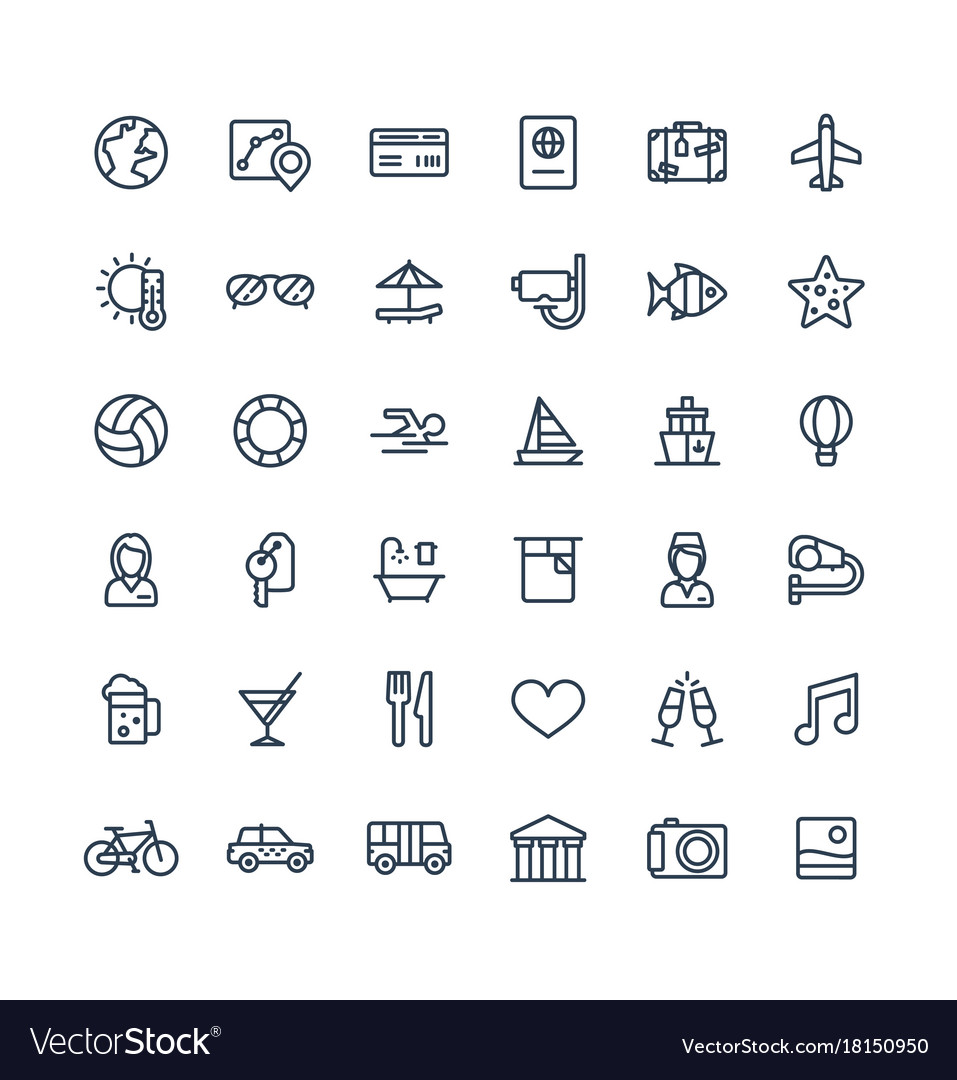 Thin line icons set with travel tourism