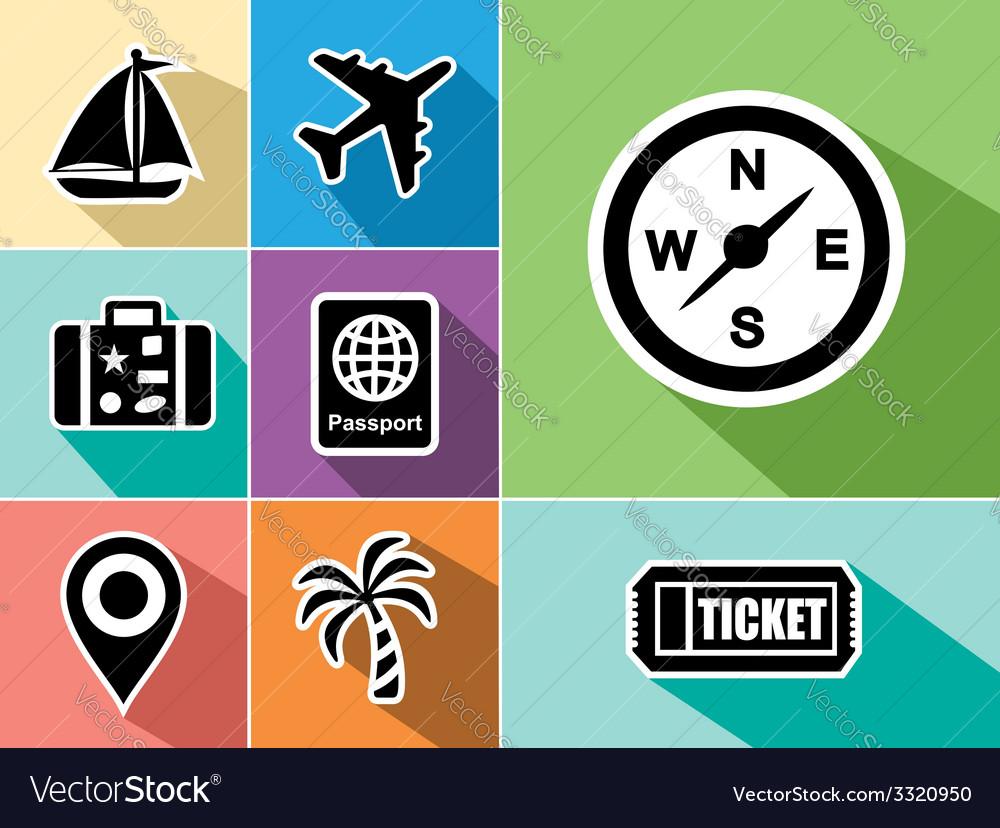 Travel abroad flat icons set design