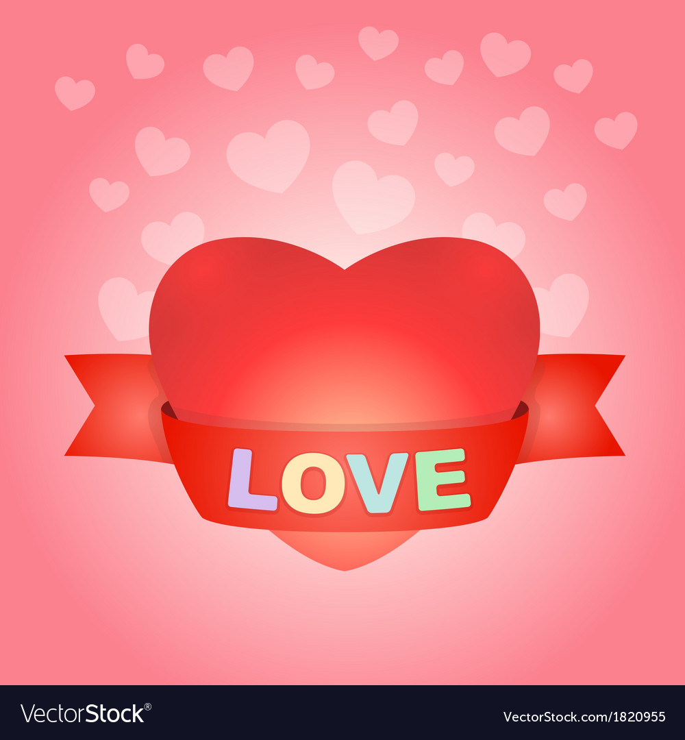 Big love heart on pink