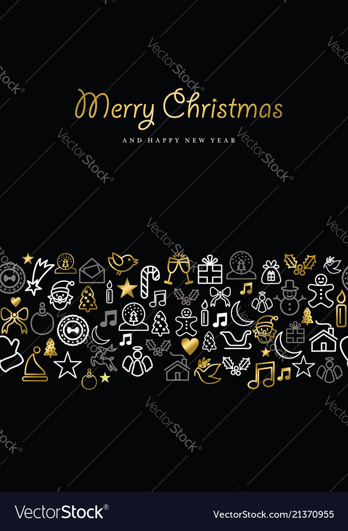 Christmas and new year gold icon set card pattern