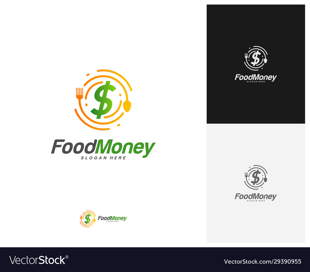 Creative Food Money Logo Design Restaurant Food Vector Image