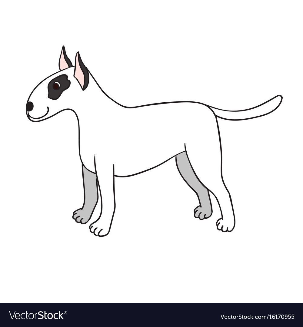Cute cartoon bullterrier isolated on white