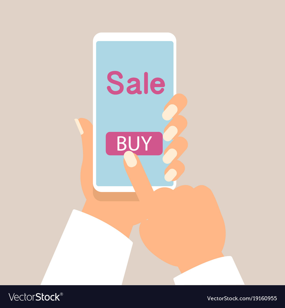 1338ae45126 Mobile phone as online store online shopping Vector Image