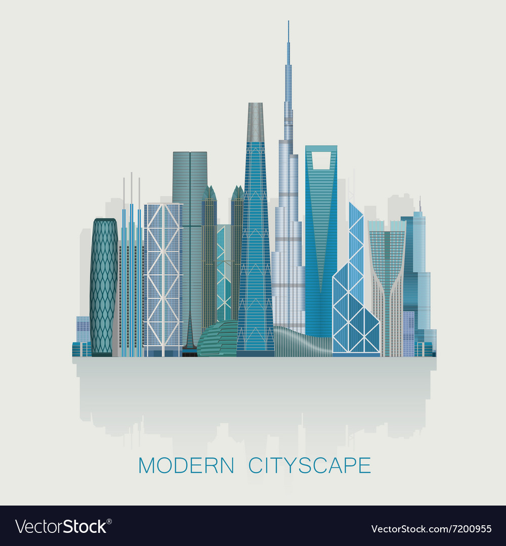 Modern detailed skyline cityscape isolated City
