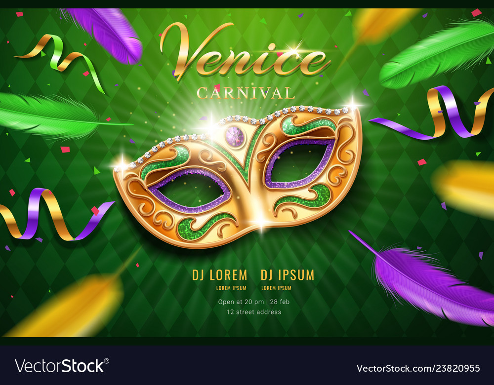 Poster with masquerade mask for mardi gras