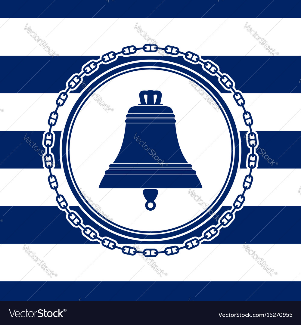 Round sea emblem with a bell vector image