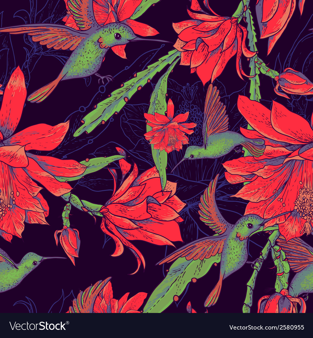 Seamless background flowers and hummingbirds vector image