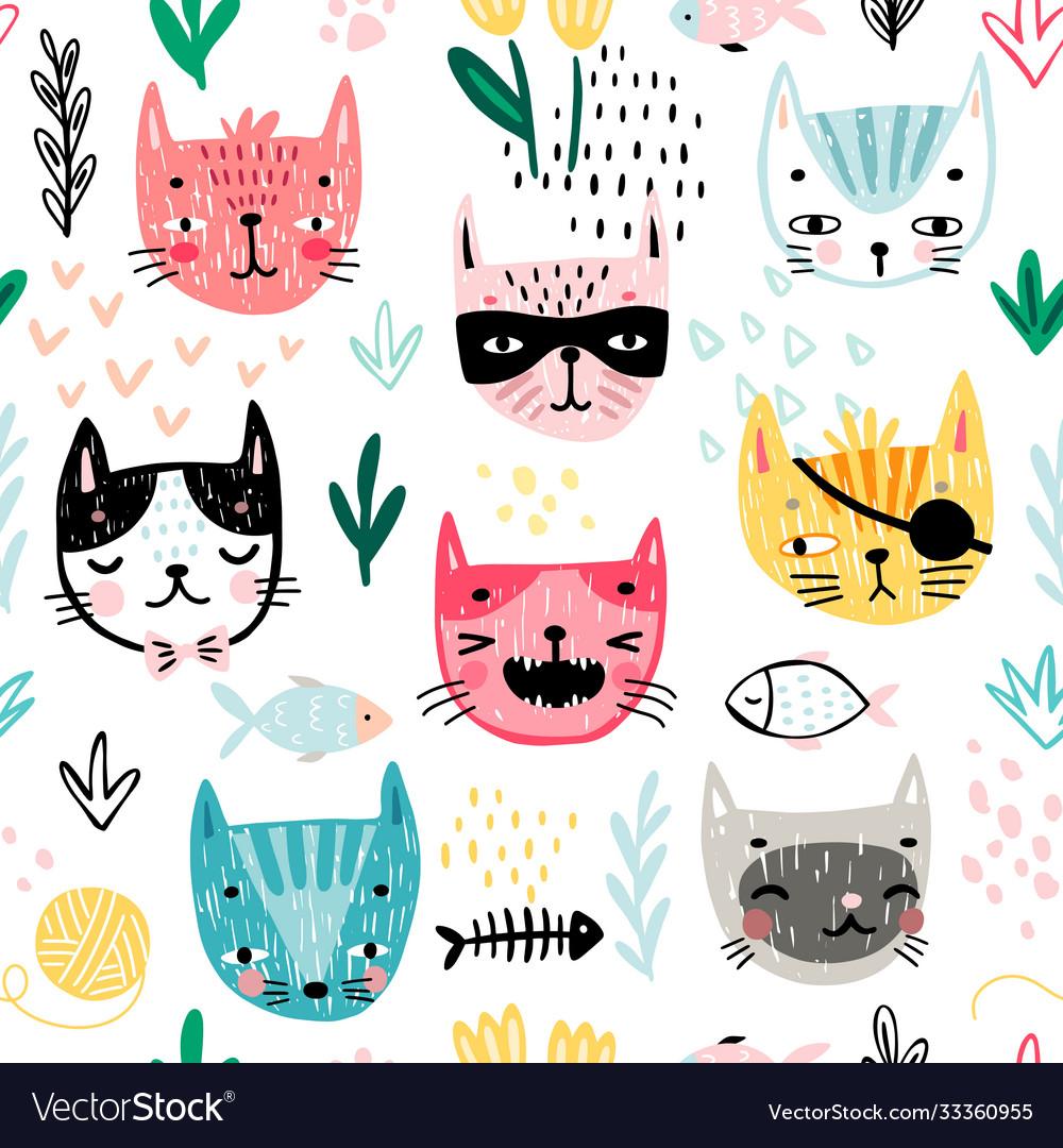 Seamless pattern with cute kittens childish