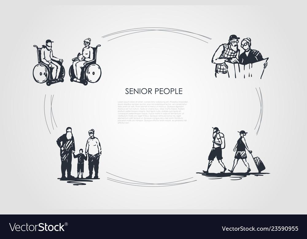 Senior people - old people sitting on wheelchairs