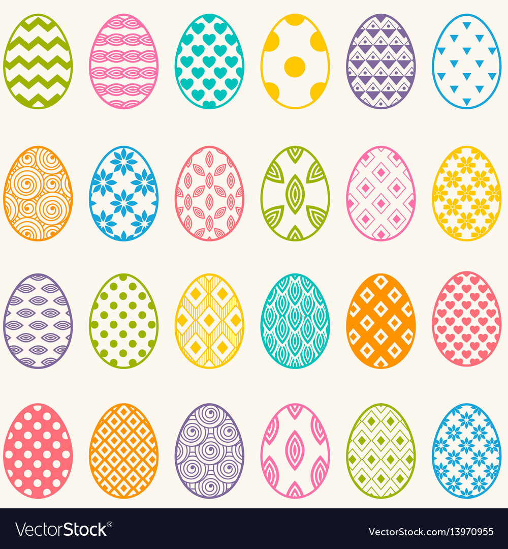 Set of colorful eggs for easter