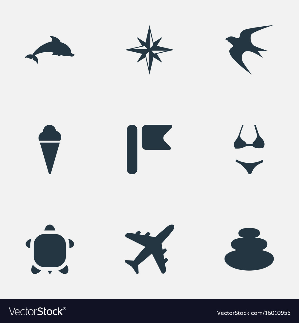 Set of simple seaside icons elements balance vector image