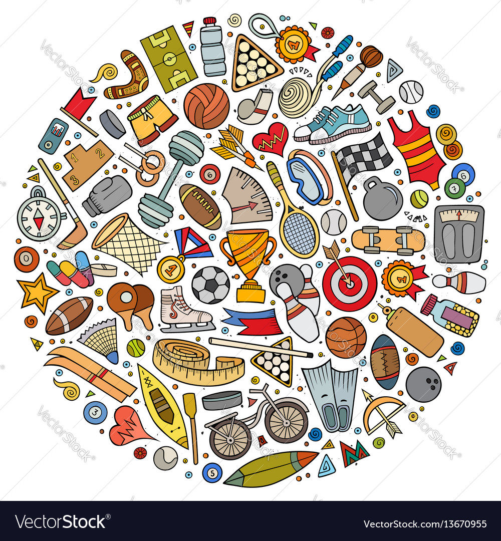 Set of sport cartoon doodle objects