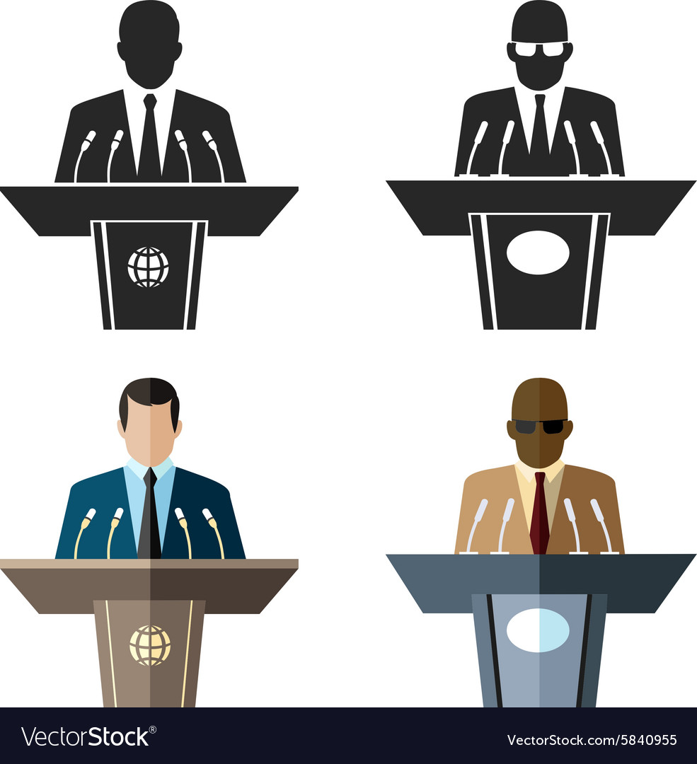 Speaker or orator icon in black and flat style vector image