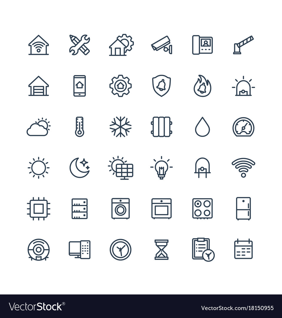 Thin line icons set with home smart house