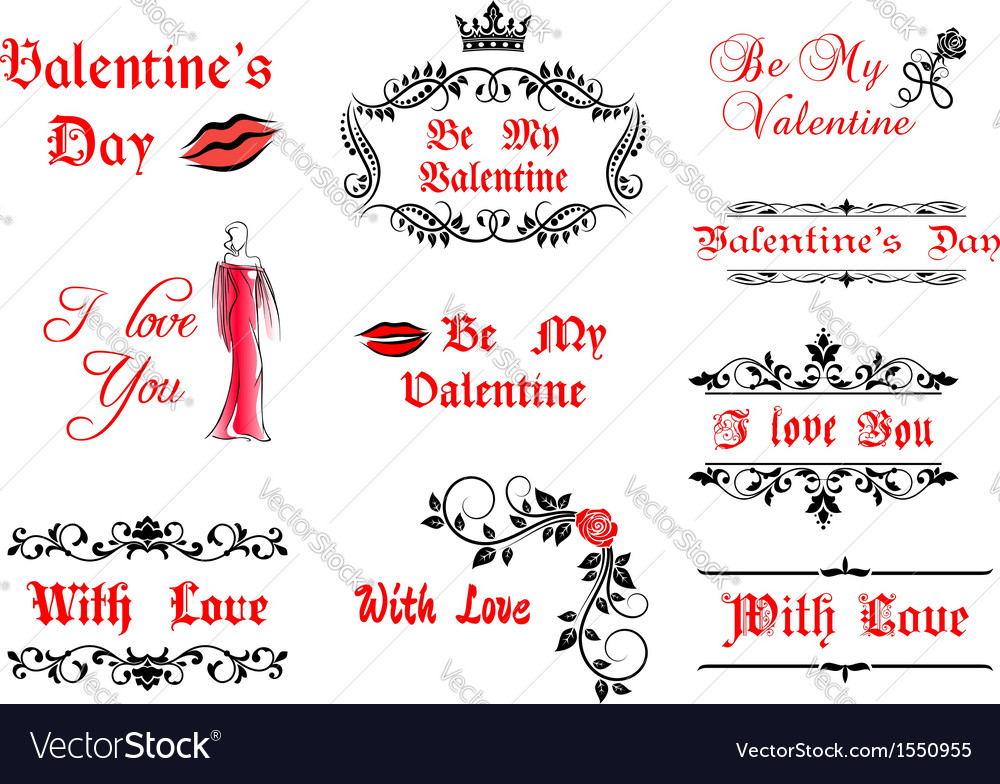 Valentines Day calligraphic elements and symbols vector image