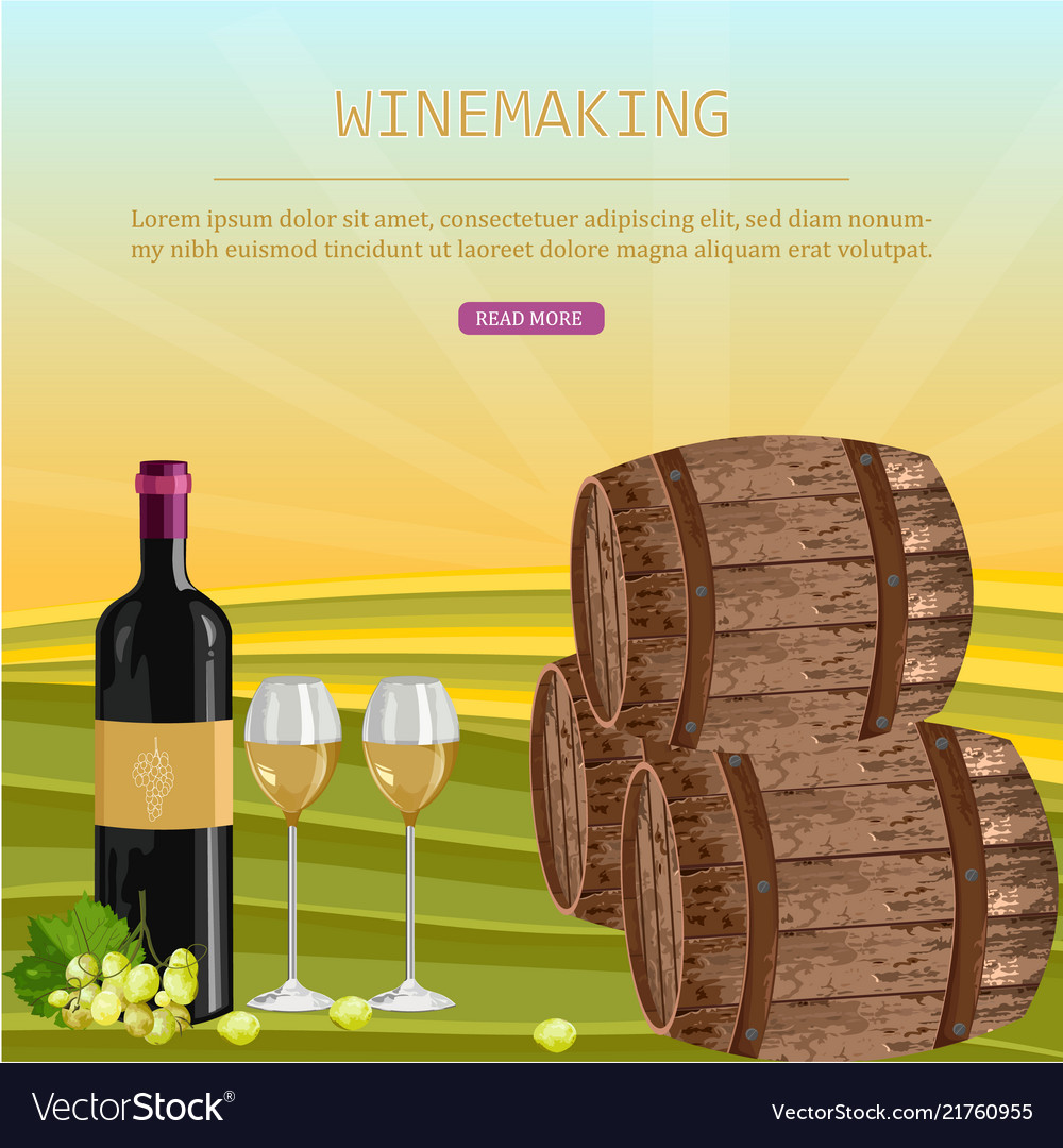Wine card with barrels and bottle vineyard