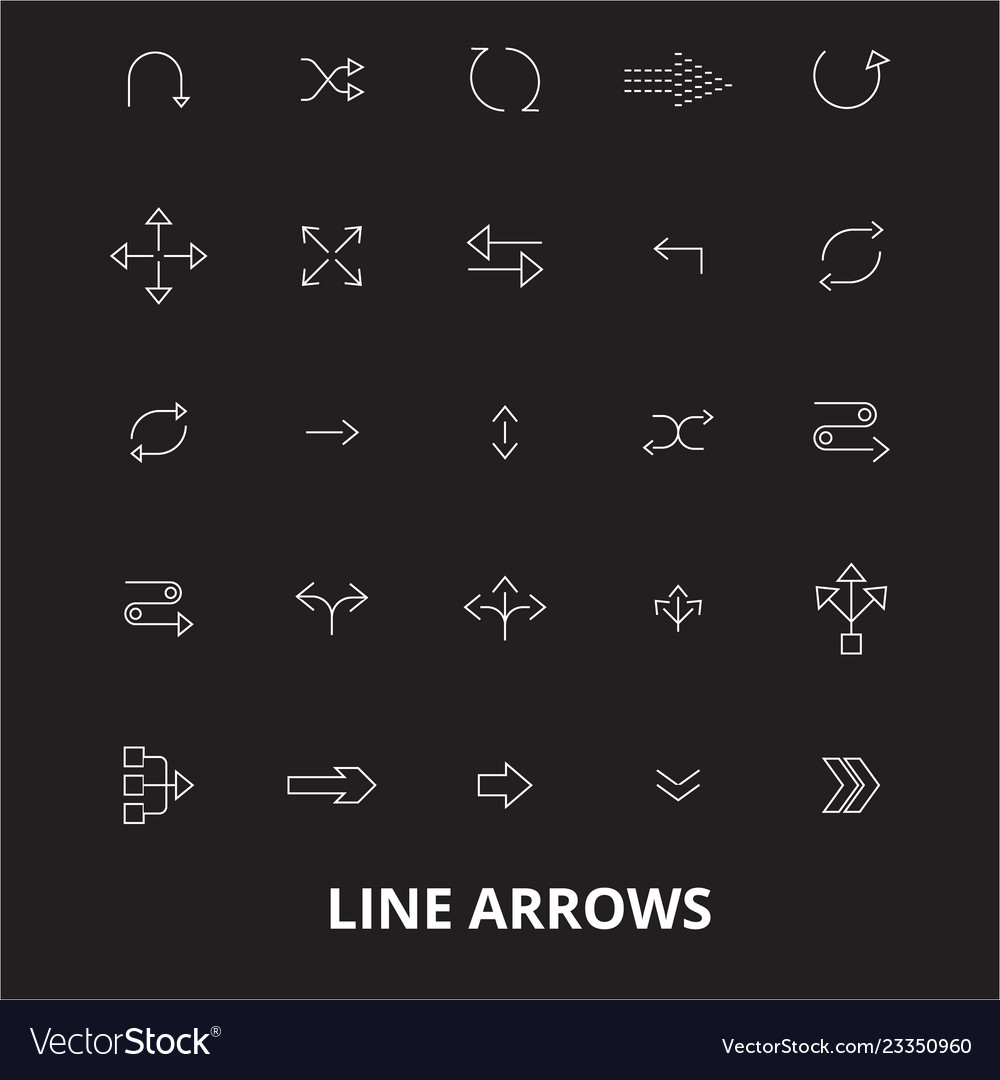 Arrows line editable line icons set on