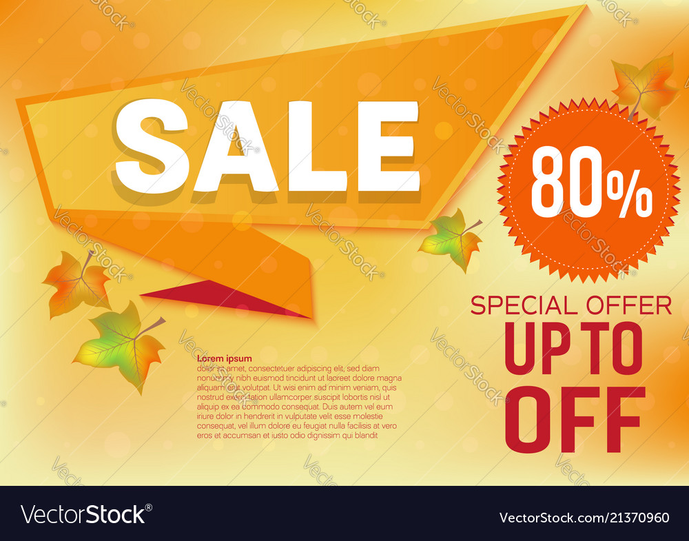 Banner sale special offer for autumn leaves