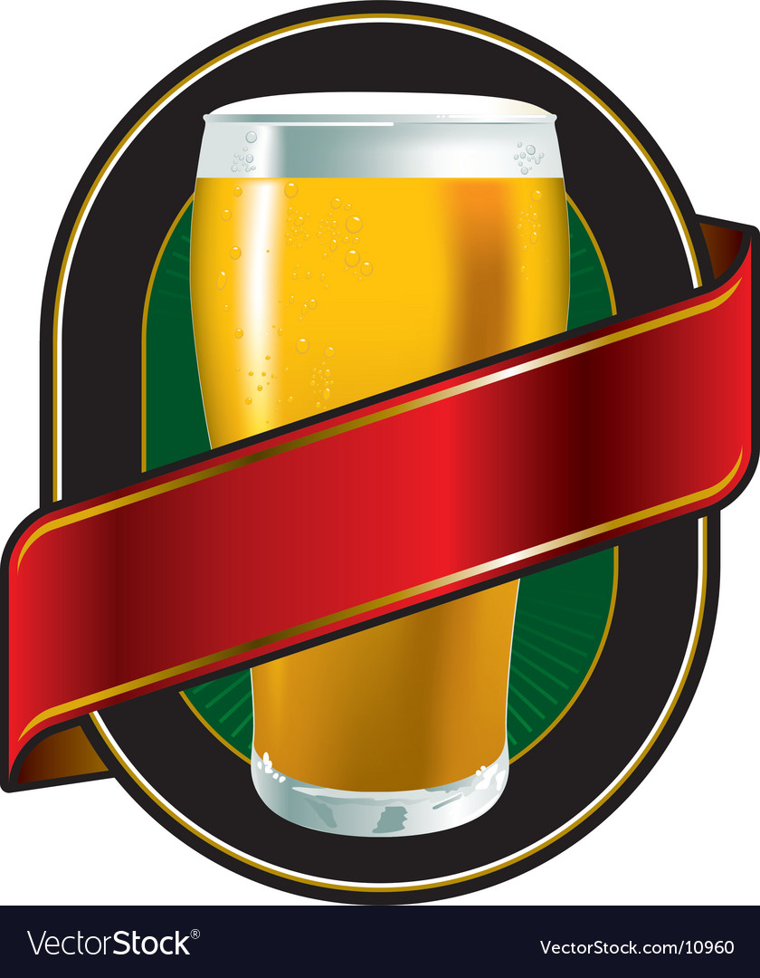 Beer green label vector image