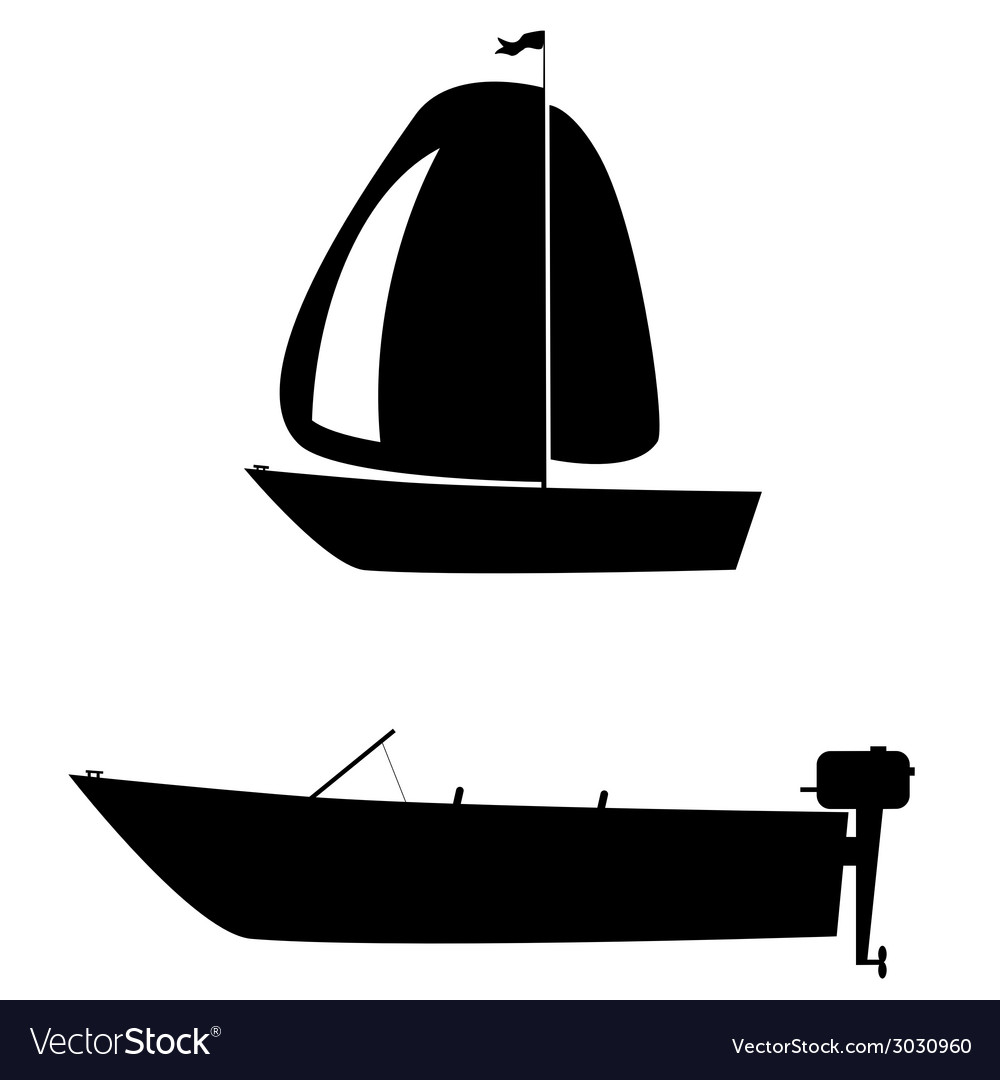 Boat two black silhouette
