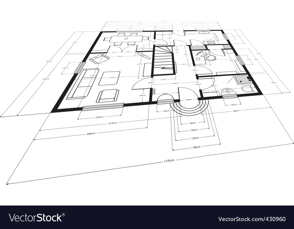 Building plans Royalty Free Vector Image VectorStock