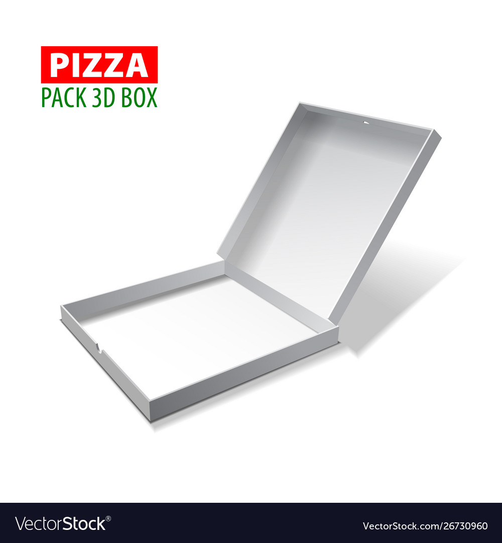 Cardboard white 3d box for pizza