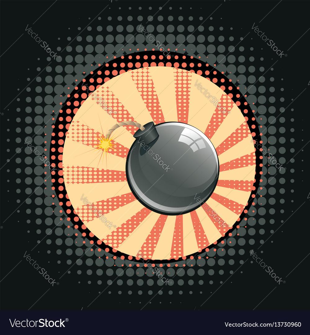 Cartoon black bomb vector image
