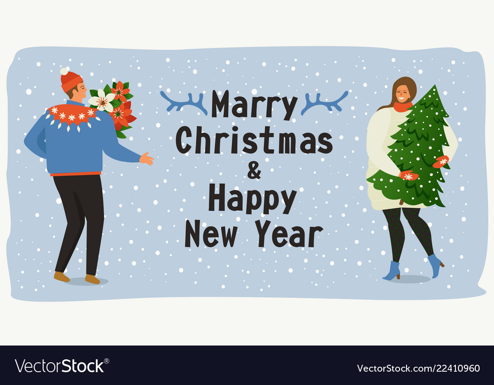 Christmas and happy new year templatetrendy retro