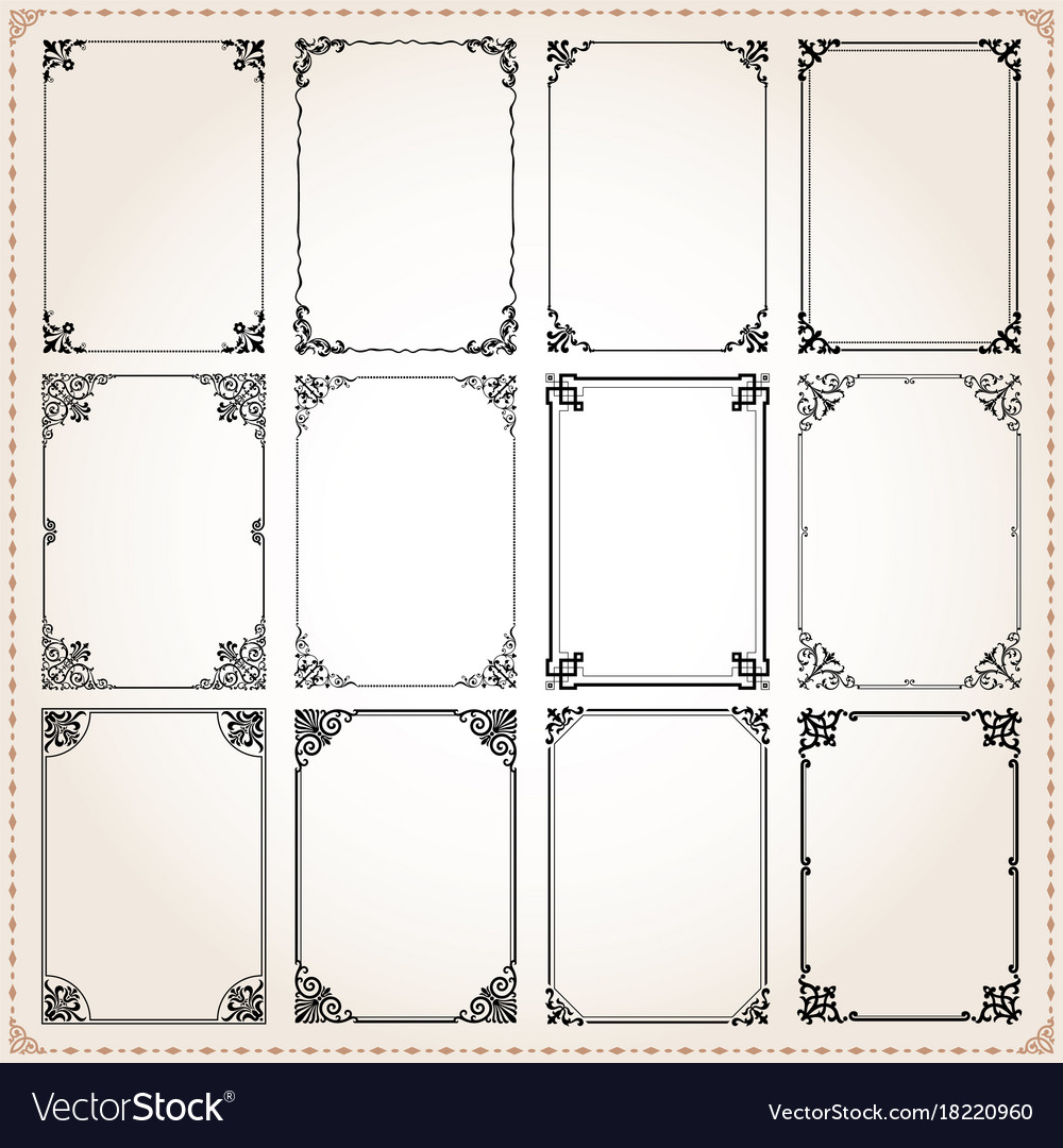 Decorative frames and borders rectangle set 7