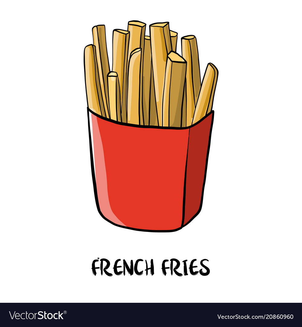 Drawing french fries Royalty Free Vector Image