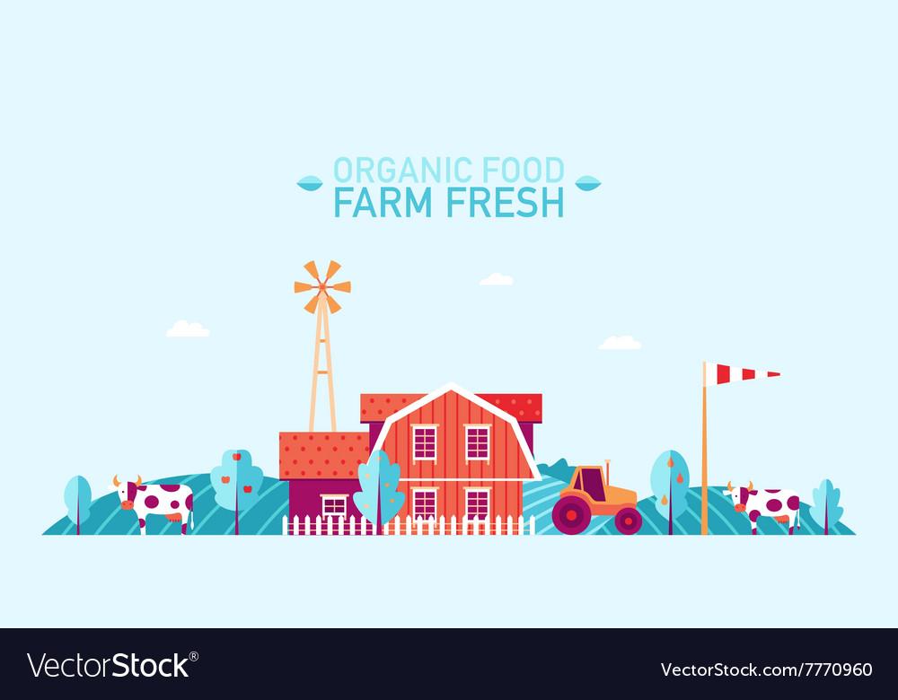 Farm landscape flat organic food fresh