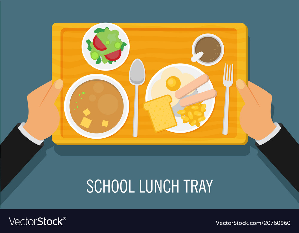 hand holding a school lunch tray royalty free vector image rh vectorstock com School Lunch Tray Clip Art Healthy School Lunch Tray