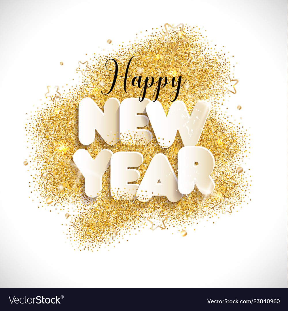 New year text in paper style background