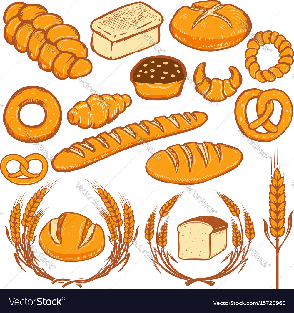 Set of bread fresh bakery design elements for
