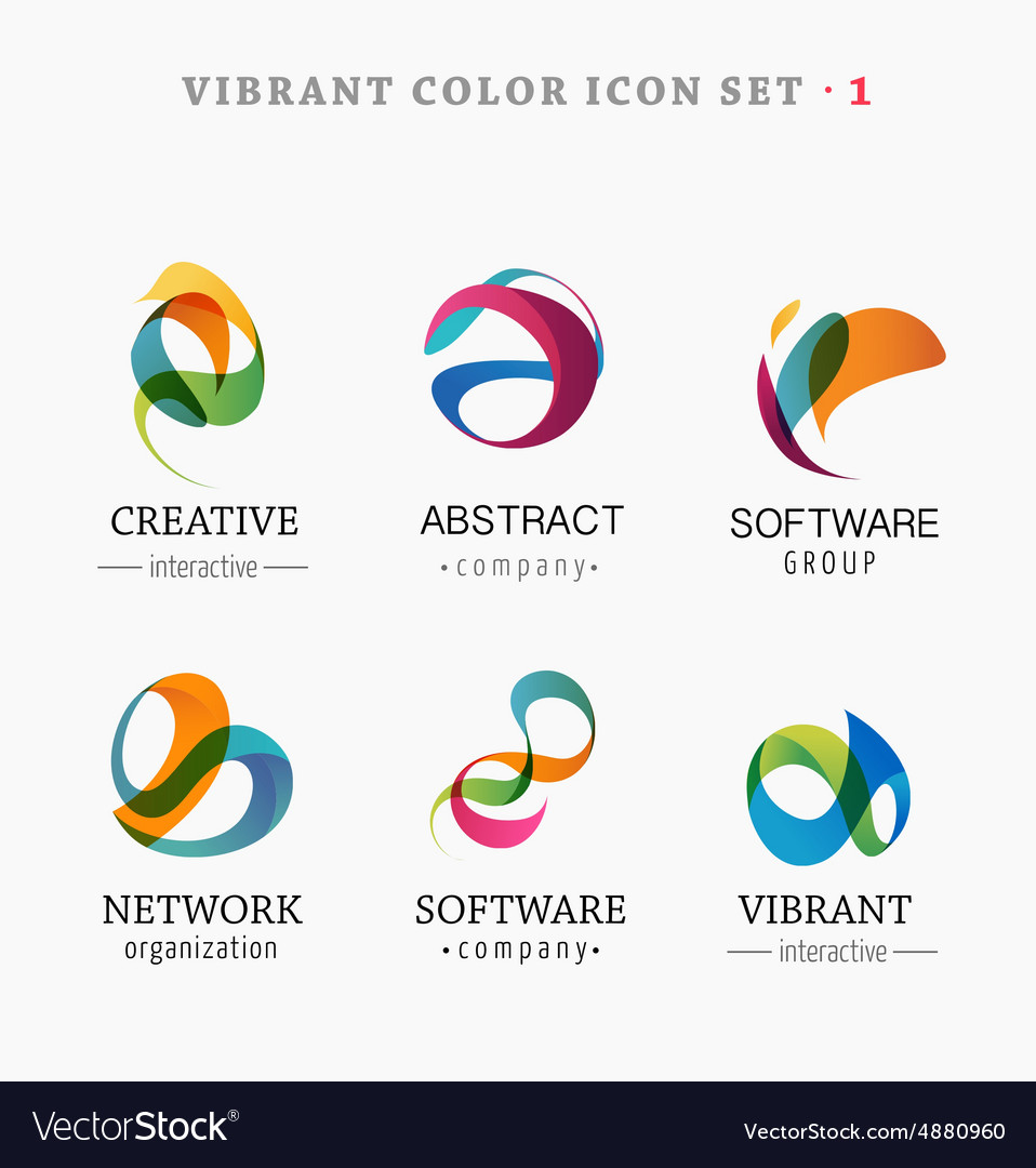 Set of trendy abstract vibrant and colorful icons