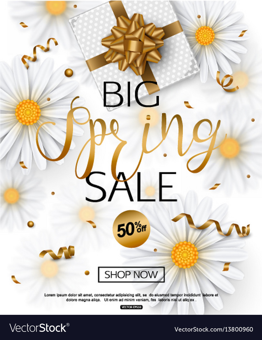 Spring sale banner with chamomile flower