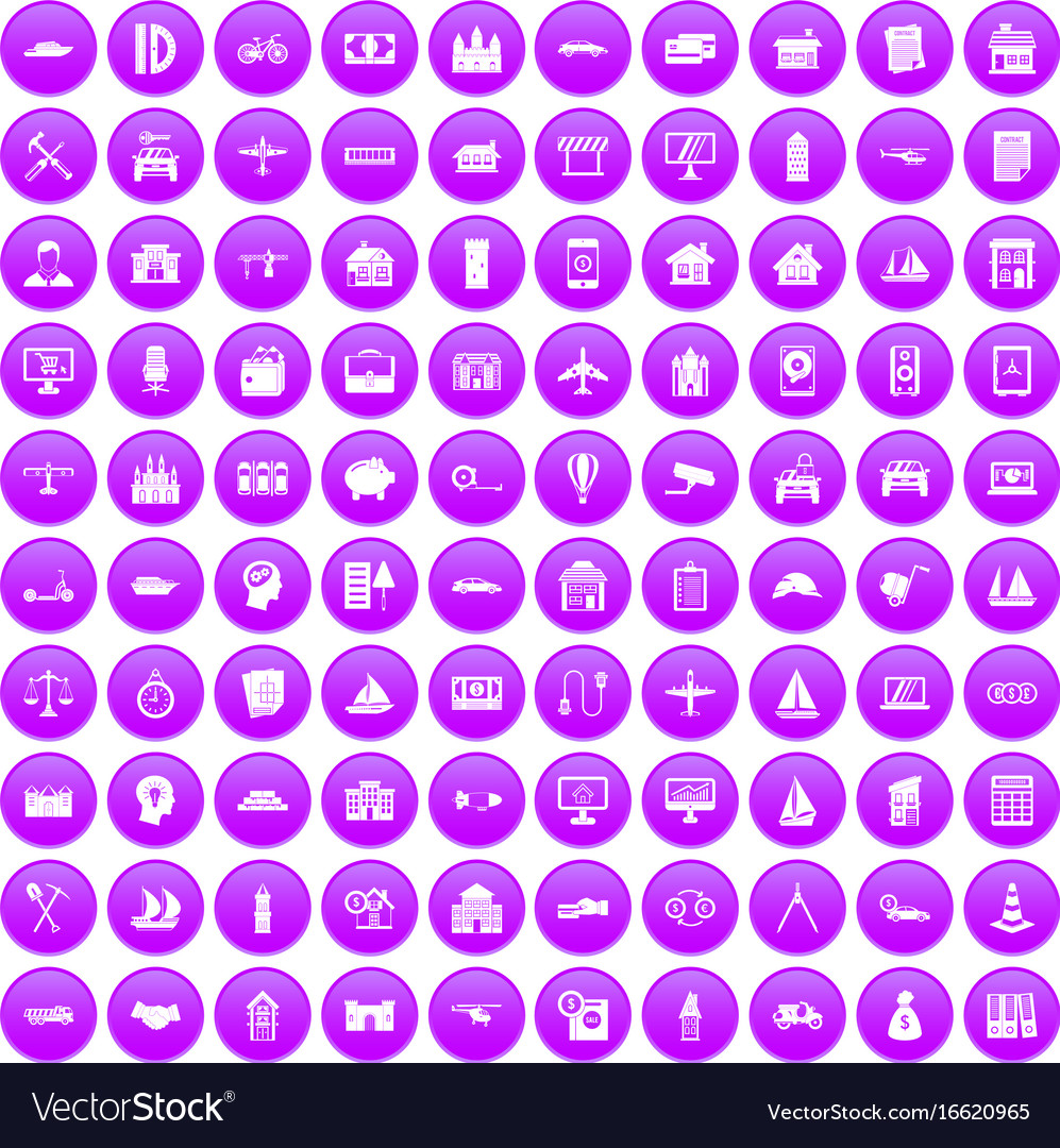 100 private property icons set purple
