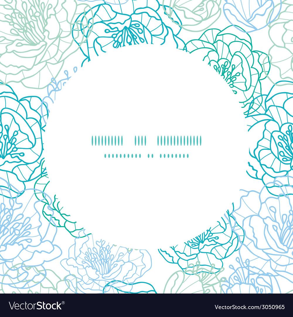 Blue line art flowers circle frame seamless