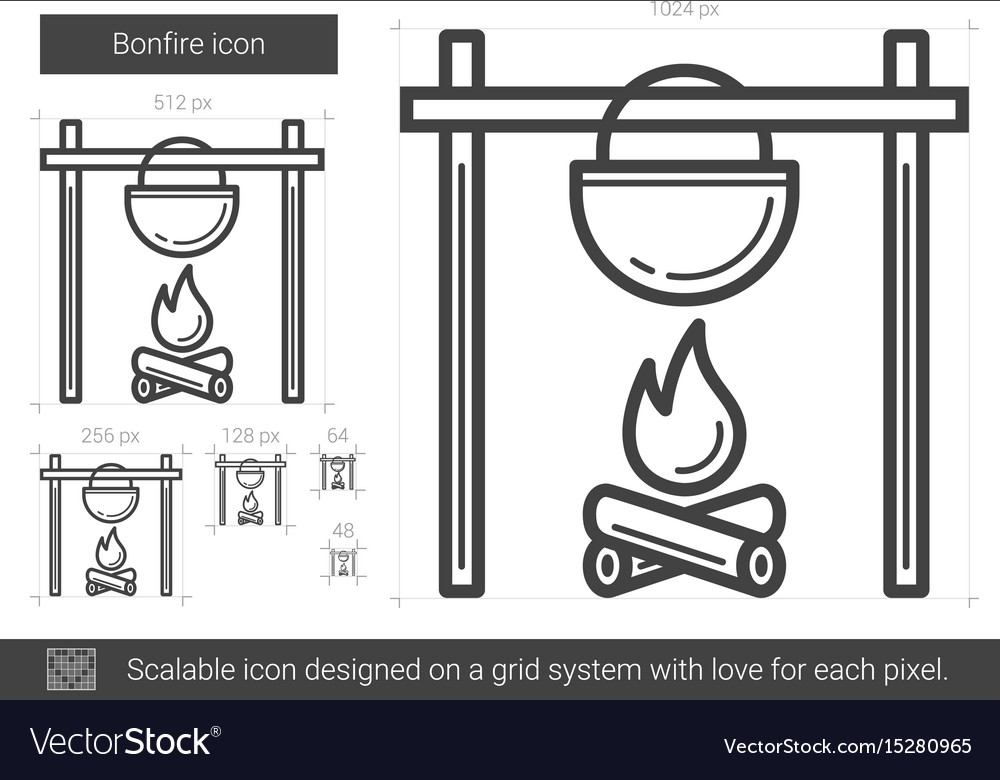 Bonfire line icon vector image